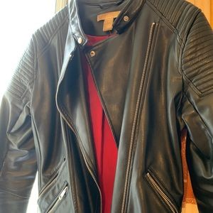 Leather jacket with red detailing